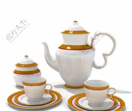 陶瓷碟子陶瓷碗茶壶杯子碟子055带贴图