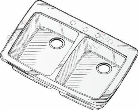 钢双水槽剪贴画