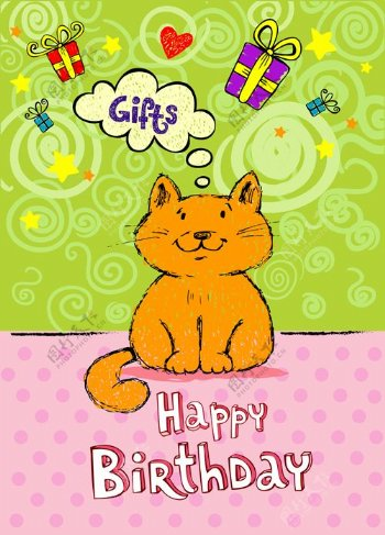 可爱的猫生日贺卡创意矢量素材02