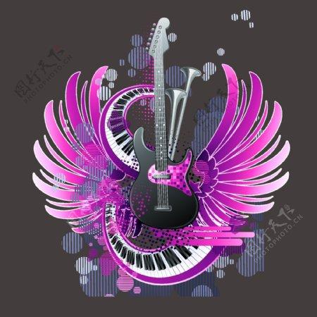 矢量对称图案专题音乐元素吉他电子琴免费素材