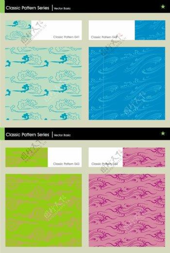 中国风古典图案祥纹云纹对称图案海浪