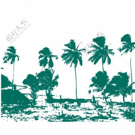 印花矢量图椰树抽象人物冲浪帆免费素材
