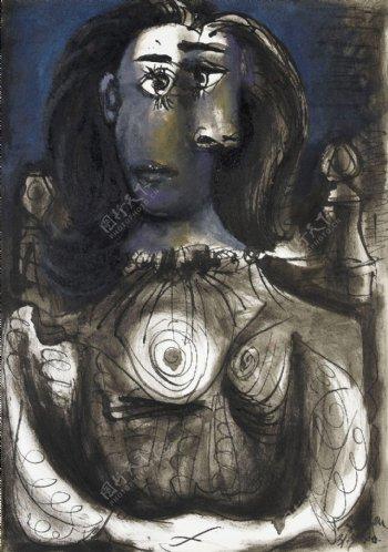 1940Femmeassisedansunfauteuil4西班牙画家巴勃罗毕加索抽象油画人物人体油画装饰画