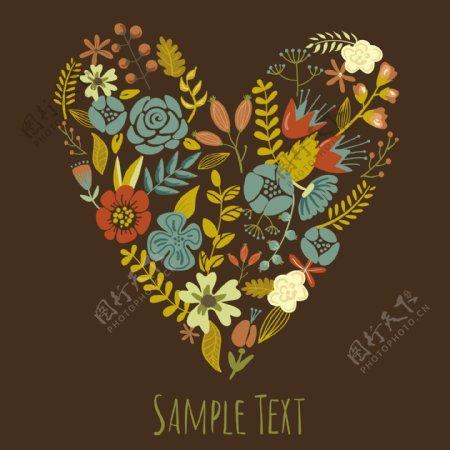 秋花的心卡可爱复古花卉安排的联合国的心的形状