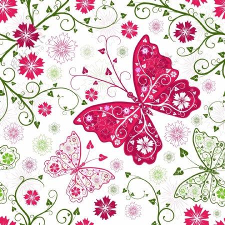 炫丽蝴蝶花纹背景