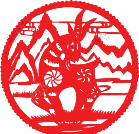 红色圆形山羊剪纸图片