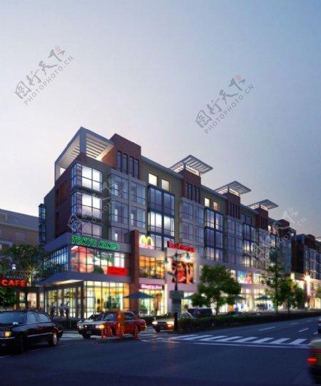 商业街夜景设计图片