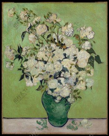梵高高清油画白玫瑰图片
