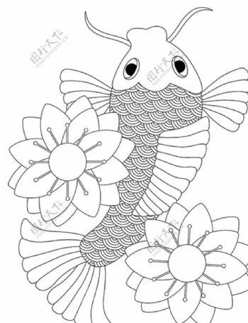 鲤鱼金鱼鱼线条图片