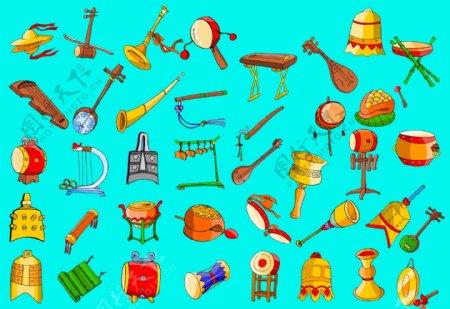 古典卡通乐器图片