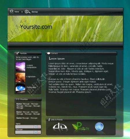 半透明VISTA风格网页模板图片