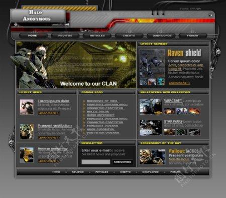 经典黑色网页游戏页面设计