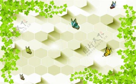 藤蔓绿叶蝴蝶蜂巢背景墙