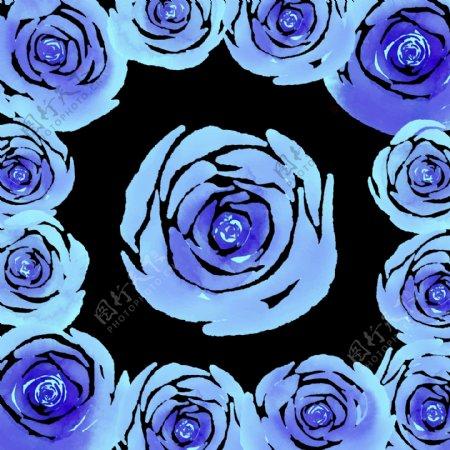 蓝玫瑰鲜花边框免抠png透明图层素材