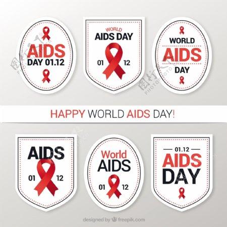 带红丝带的世界艾滋病日六包白色贴纸