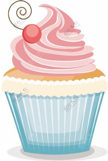 蓝色纸杯矢量卡通蛋糕冰淇淋甜品插画素材