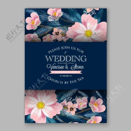 水彩盛开的花朵叶子婚礼请贴矢量素材