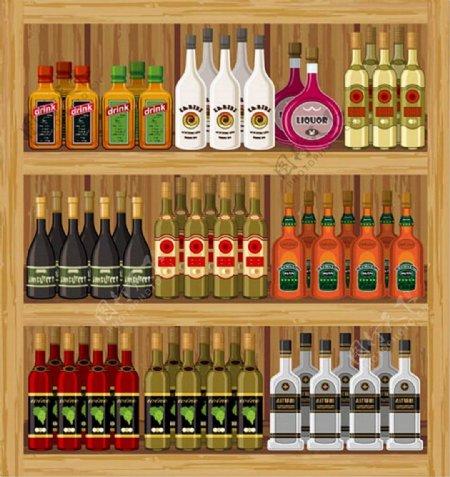 超市商品架洋酒矢量图