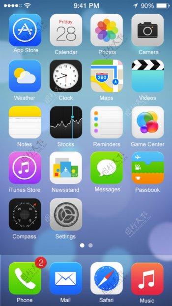 绘制iOS7操作系统手机界面