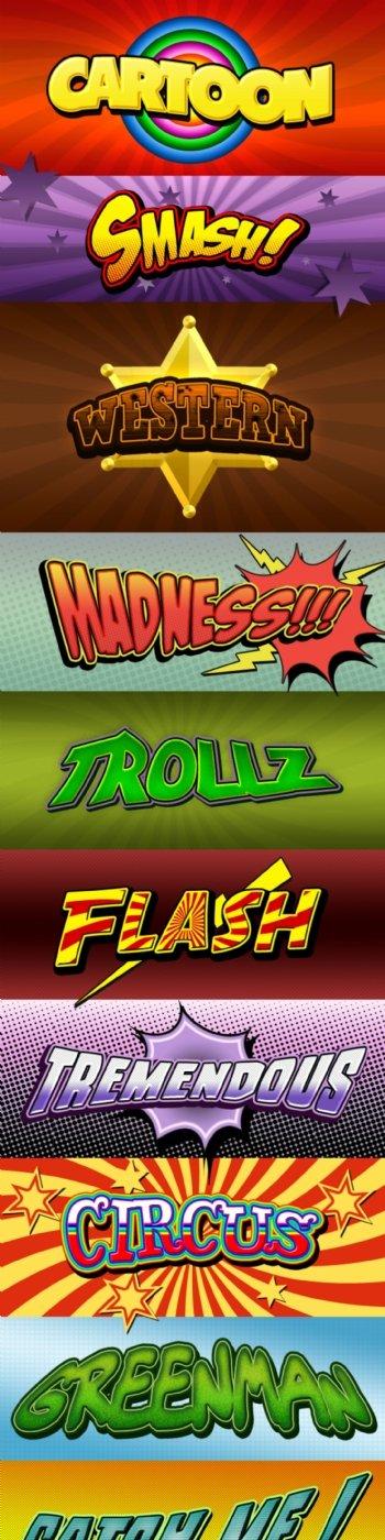 卡通和漫画风格立体字样式
