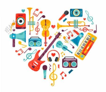 乐器组合的爱心AI矢量图片