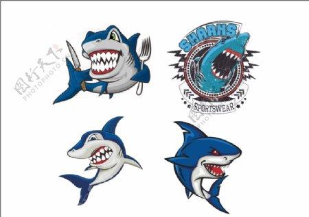 卡通手绘鲨鱼鱼类
