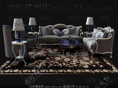 欧洲风格的灰色的沙发组合