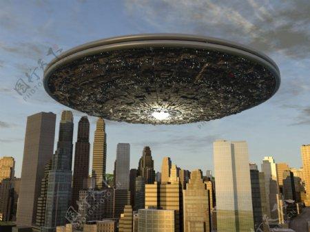 UFO飞碟与城市图片