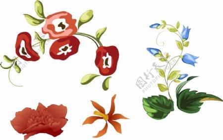 手绘花朵花藤蓝色花朵