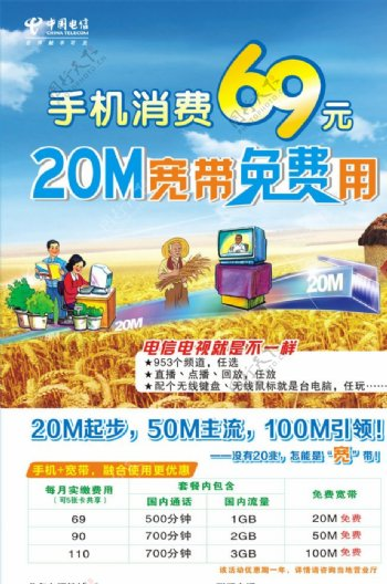 电信20M宽带免费用