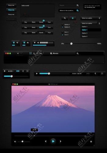 酷黑风格手机界面UI元素