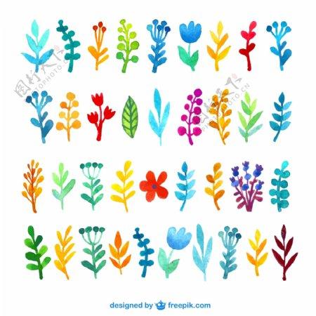 七彩水墨植物