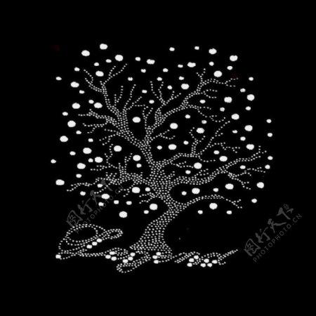 烫钻植物树文字英文免费素材