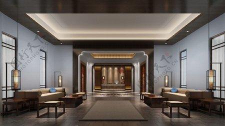 现代时尚酒店会议室浅蓝色背景墙工装装修图