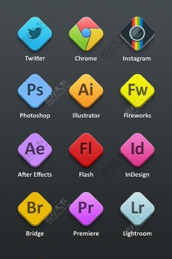 adobe谷歌相机社交icon图标设计