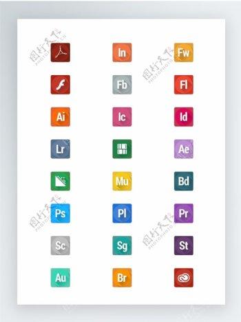 带阴影效果的Adobe图标集
