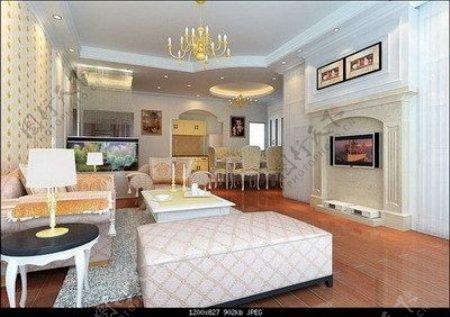 欧洲风格的精英阶层的客厅3dsmax模型