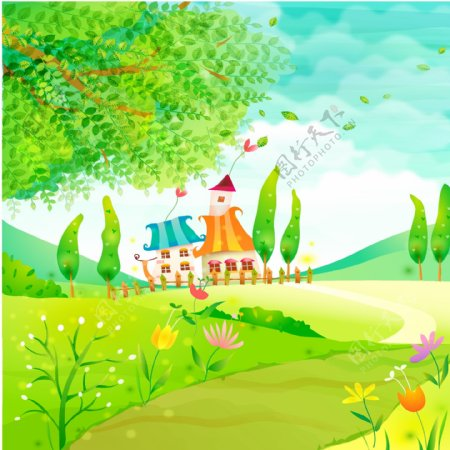 卡通城堡小道绿树背景