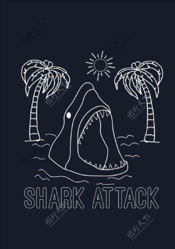 手绘鲨鱼椰子树矢量图下载