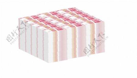 大叠人民币元素