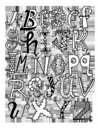 另类黑白卡通艺术字母下