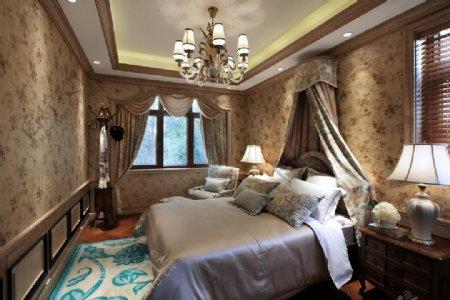 欧式卧室水晶吊灯效果图