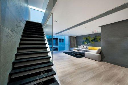 现代时尚亮面蓝色背景墙客厅室内装修效果图