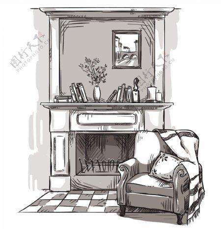 手绘家居壁炉插画