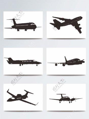 矢量剪影飞机素材