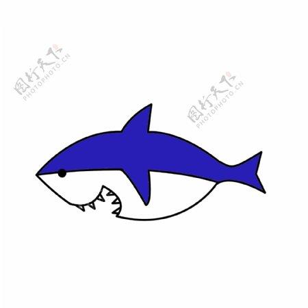 可爱卡通创意简约手绘鲨鱼海底元素