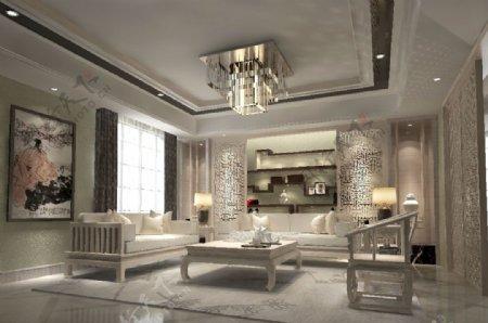 中式现代温馨风格客厅空间MAX