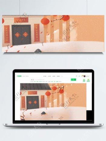 中国风喜庆春节灯笼门联背景素材