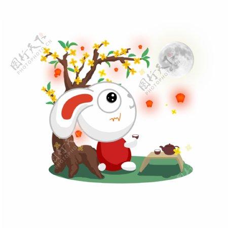 中秋节快乐的兔子节日场景元素