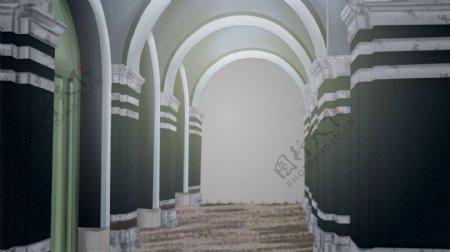 圆拱形门洞教堂走廊卡通背景